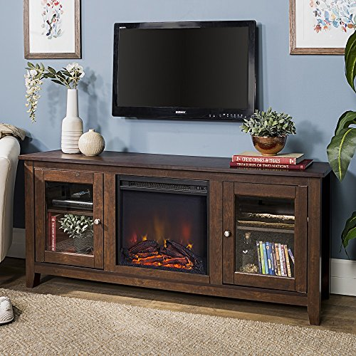 New 58 Inch Wide Television Stand with Fireplace in Traditional Brown Finish