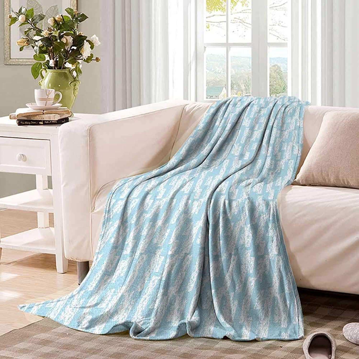 Light blueefluffy blanketWall with Brushstrokes Seem Made by a Painter Modern Minimalist Designbed Blanket 60 x50  Baby bluee and White