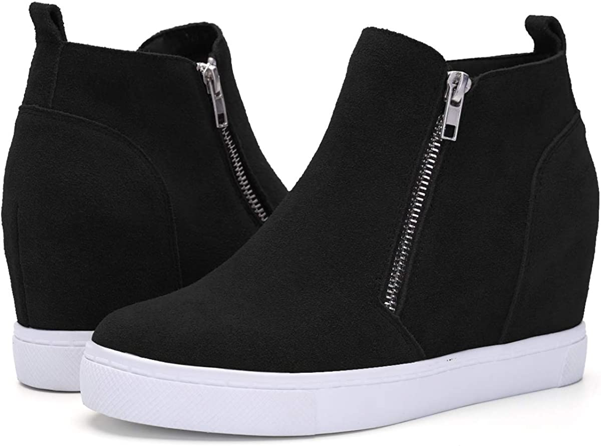 Athlefit Women's Hidden Wedge Sneakers Zipper Wedge Shoes Sneakers Booties