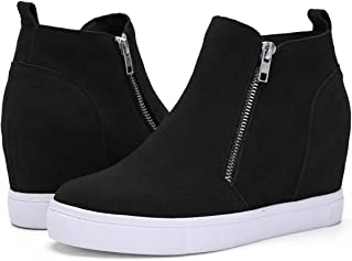 Athlefit Women's Hidden Wedge Sneakers Zipper Wedge Shoes Sneakers Booties