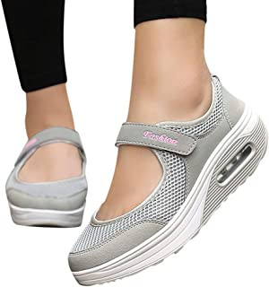 Women's Casual Mesh Walking Shoes Lightweight Platform Slip On Loafers Shoes Breathable Sport Running Sneakers Sopzxclim
