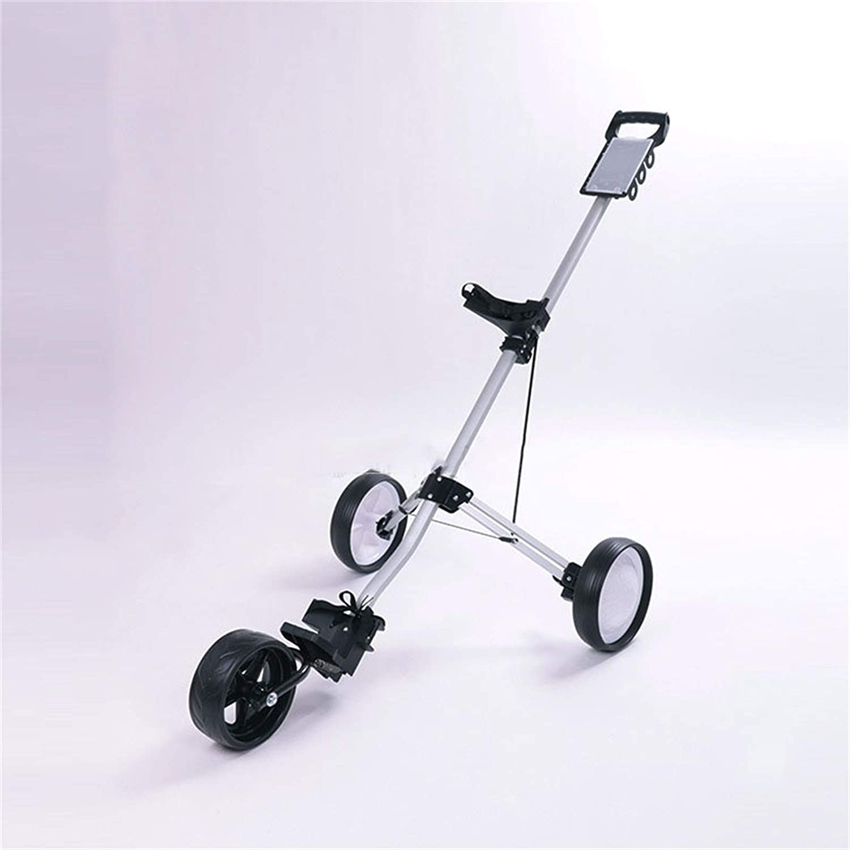 GYN Golf Push Cart Carts 3 Folding Wheel Silver Indianapolis 1 year warranty Mall Alumin