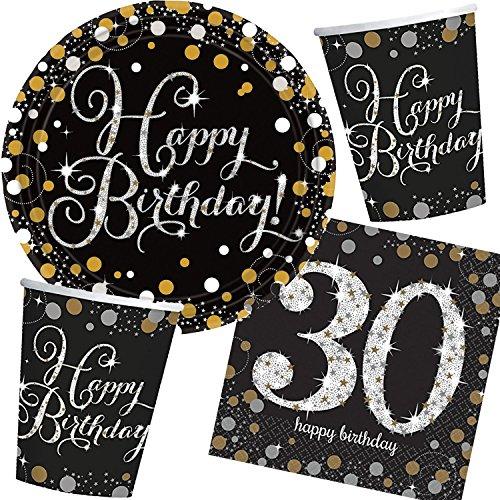Amscan/Carpeta 32-teiliges Partyset * Sparkling Celebration * für den 30. Geburtstag // mit Teller + Becher + Servietten // Set Party Mottoparty Motto dreißig