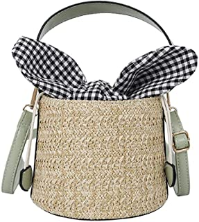 Hamkaw Rattan Bag, Top Handle Beach Drawstring Bucket Bag with Plaid Bowknot for Women Travel, Shopping, Work