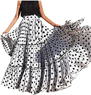 comprar comparacion Vectry Moda Mujer Cintura Alta Lunares Falda Estampada Falda Plisada con Volantes Sueltos
