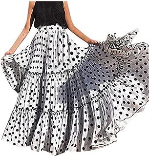 Moda Mujer Cintura Alta Lunares Falda Estampada Falda Plisada con Volantes Sueltos