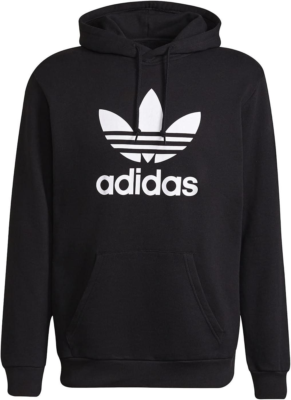 adidas Trefoil Hoody Sweatshirt, Mens, Black/White, 2XL