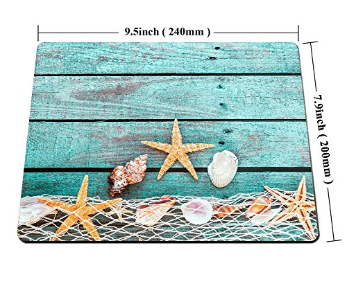 Smooffly Gaming Mouse Pad Custom,Pretty Turquoise Blue Nautical Background Decorated with Draped Fishing net and Starfish on Painted Rustic Wooden Boards Mouse pad Photo #5