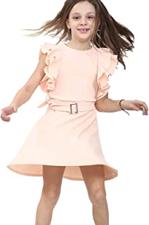Hi Fashionz Girls Ruffle Belted Skater Dress Children Round Neck Party Dress Sleeveless Top