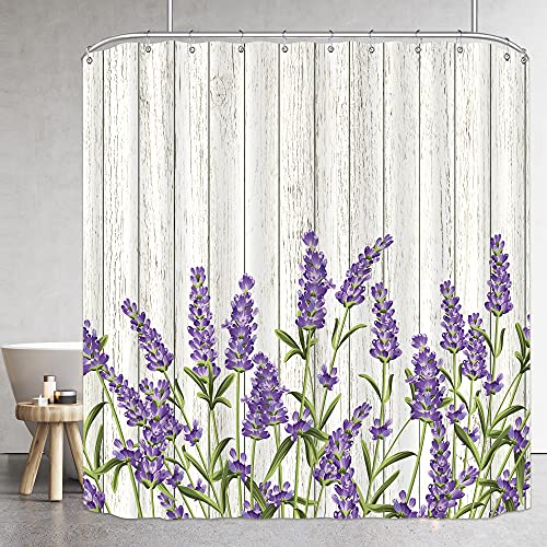 Riyidecor Wooden Lavender Shower Curtain Lilac Rustic Purple Flowers Floral Farm Country Vintage Grunge Herbs Background Decor Fabric Polyester Waterproof 72Wx72H Inch 12 Pack Plastic Hooks