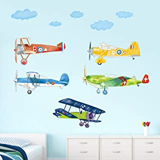 decalmile Colorful Airplane Wall Decals Boys Kids Room Wall Decor Removable Aircrafts Wall Stickers for Baby Nursery Childrens Bedroom Playroom