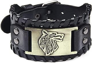 SturdCelle - Vintage Men Weave Bangle Wide Leather Adjustable Wolf Head Bracelet Jewelry
