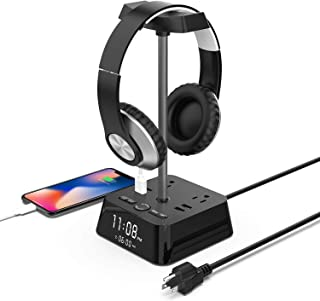 $25 » Headphone Stand,Alarm Clock Charger w/4 USB Ports & 2 Outlets with LED Desk Lamp Night Light,Surge Protector Power Strip C...