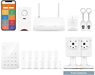 Home8 Wireless Security System (2-Cam, 14-Piece Kit),24/7 Professional Monitoring,No Contracts,2-Cam,1-Keypad,1-Siren,6-Contact Sensor,1-Motion,2-Remote,1-Hub,Compatible with Alexa
