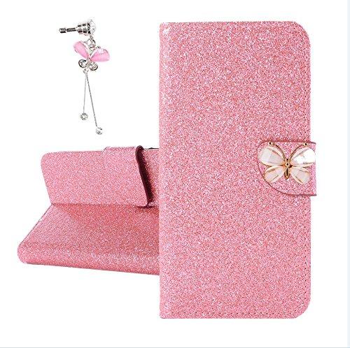 Xifanzi Glitzer PU Ledertasche für DOOGEE Y6C Glänzende Einfarbig Lederhülle Luxus Flip Cover Hülle Schmetterling Magnetclip Design Tasche Folio für [DOOGEE Y6C] Rosa + 1X dust Plug