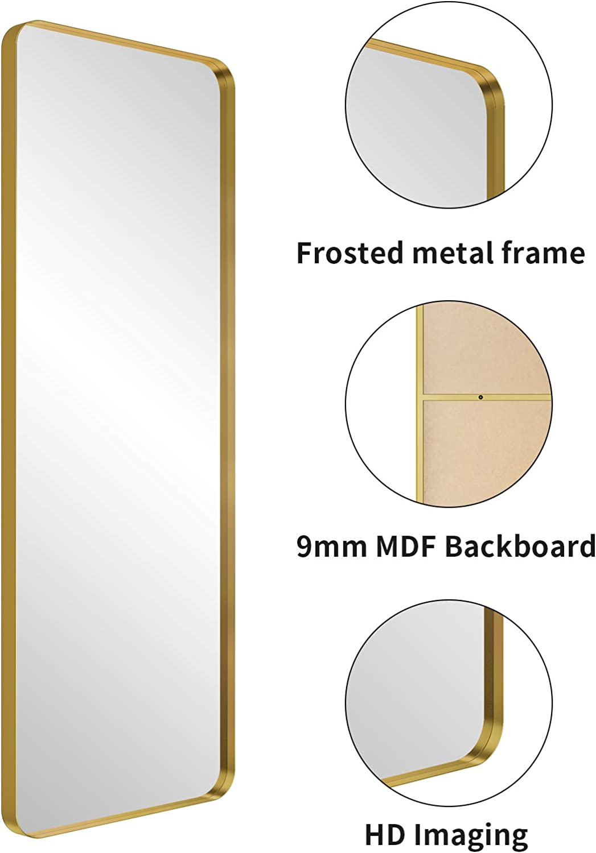 NXHOME Metal-Framed Full Length Mirror Modern Dressing Mirror Wall ...