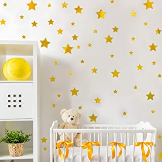 Stars Wall Decals Stickers 134 Gold Stars Painted Walls Metallic Vinyl Wall Decor Sticker for Baby Kids Nursery Bedroom Removable Home Decoration Easy to Peel Self Adhesive Stick (Golden)