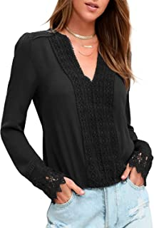 BMJL Women`s Lace Splicing Top Deep V Neck Blouse Casual Long Sleeve Shirt Tees
