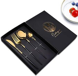Couverts en acier inoxydable 4 Pcs,vaisselle et arts de la table,Y compris fourchette, cuillère, couteau, cuillère à café ...