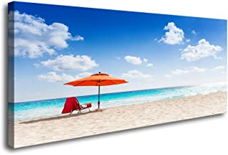 S73550 Canvas Wall Art Chairs and Umbrellas on a Beautiful Tropical Beach Wall Decor on Canvas Stretched Artwork Living Room Bedroom Ready to Hang