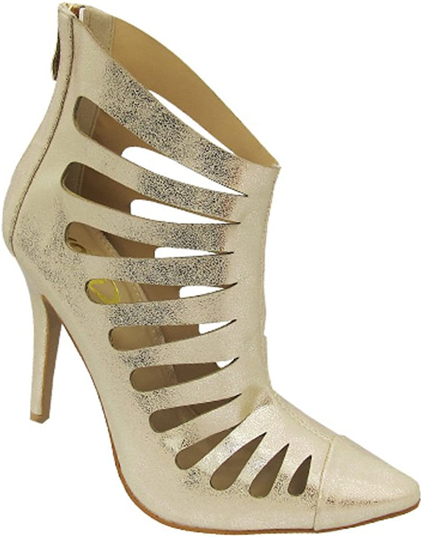 Yoki EDEN Women's Hot Fashion Point Toe Stiletto High Heel Sexy Stylish Sandals, color gold, Size 10