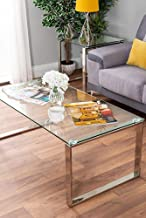 Modern Style Chrome Clear Glass Coffee Table Silver Metal Living Room Table,Brown