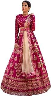 Lehenga Style Women Heavy Taffeta Silk Embrodary Semi-Stiched Lehenga Choli (Pink_Free Size)