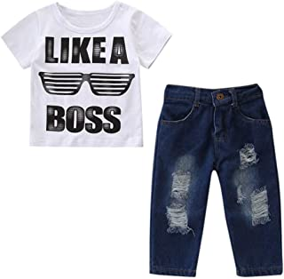 2-teilig Kleinkinder Junge Kleidung Kurzärmlig Mini Boss Druck T-Shirt