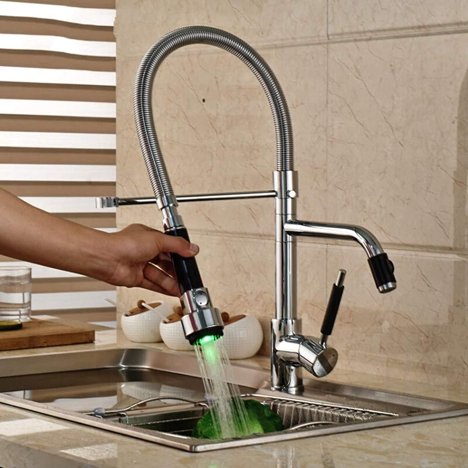 KUNHAN Kitchen Sink Faucet Tap Led Light Chrome Kitchen Single Handle Mixer Faucet Inssizetion Hot And Cold Water Faucet Faucet