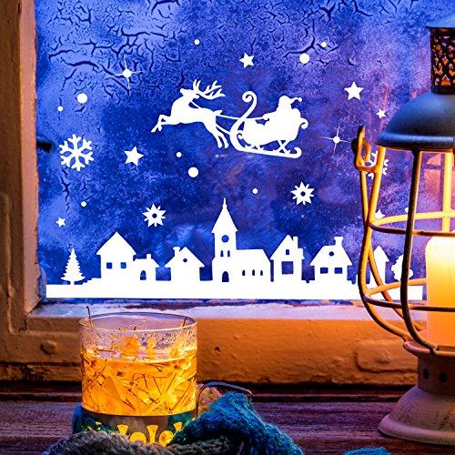 ilka parey wandtattoo-welt Fensterbild Weihnachtsmann an Weihnachten Winter Fensterdeko 28x16cm Fensterbilder Winterlandschaft + Sterne & Schneeflocken M2263