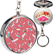 Portable Metal Pill Organizer Keychain Case Stash Box with 3 Compartments for Medicine Vitamin (Alchemy Bottles)