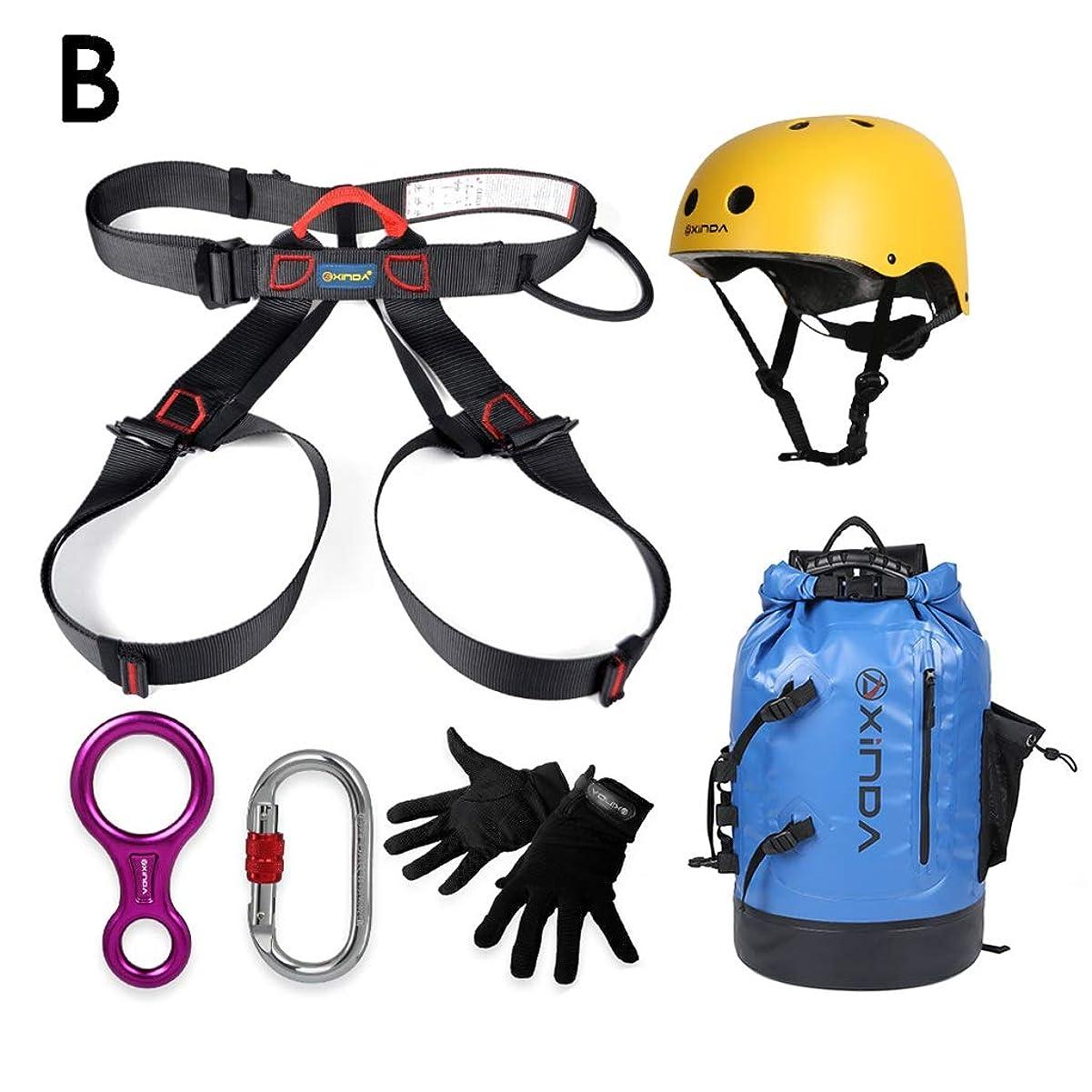 マッシュ高音配るアウトドア登山クライミングスピードドロップセットハイエアージョブ保護セットロックキャッチシートベルト降下機 (色 : B)