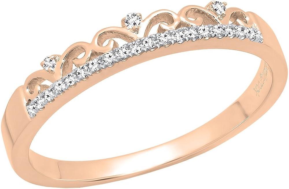 Dazzlingrock Collection 0.07 Carat (ctw) Round White Diamond Ladies Crown Anniversary Wedding Band, 10K Gold