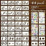 Buchstaben- und Zahlenschablonen-Set, 21 x 15 cm, große, wiederverwendbare Alphabet-Vorlagen-Sets, zum Basteln, Sprühen, Zeichnen, Schablone zum Malen auf Holz, Leinwand, Wand, Stoff, Fels, 44 Stück