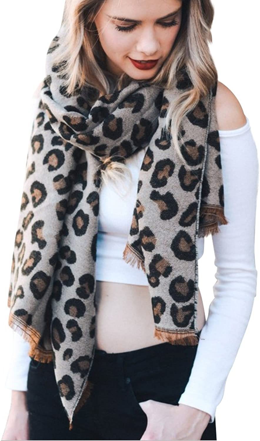 Boho Now Super Soft Reversible Leopard Print Blanket Scarf