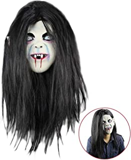Halloween Ghost Mask Horror Grimace Latex Mask Scary Zombie Emulsion Skin with Hair for Halloween Costume Party Cosplay
