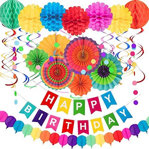 Juego de 28 banderines coloridos con bolas de panal de abeja para cumpleaños, banderines de cumpleaños para niños, niñas, mujeres y hombres