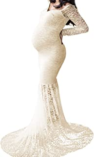 IBTOM CASTLE Pregnant Women Mermaid Long Maxi Off Shoulder Gown Photo Shoot Maternity V Neck Lace Dress Baby Shower