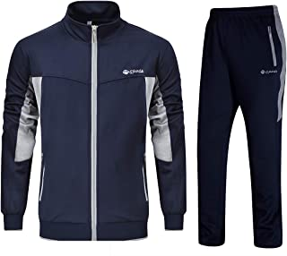 YSENTO Mens Tracksuits Gym Jogging Suits Sports Casual Sweatsuits Full Zip Navy Grey L
