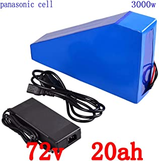Yoli 72V 3000W Triangle Battery 72V 18AH Lithium Battery Pack 72V 18AH Electric bie Battery with 50A BMS+84V Charger+Bag