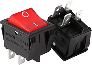 uxcell 2Pcs AC 20A/125V 22A/250V DPST 4 Pins 2 Position I/O On Off Button Red Backlit Light Boat Rocker Marine Push Button Switch