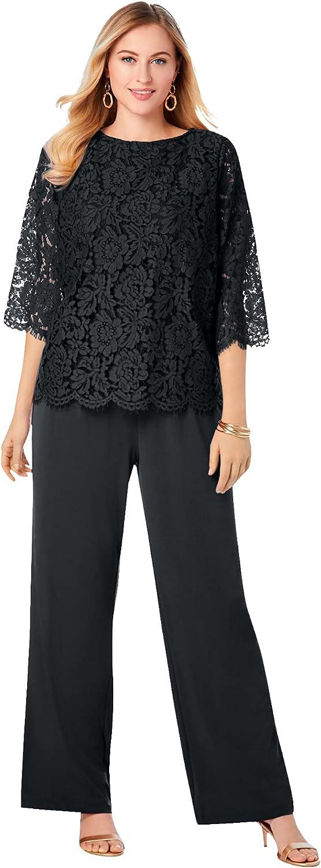 Jessica London Women's Plus Size Popover Lace Jumpsuit