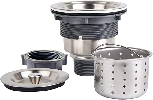 KONE Garbage G231 3-1/2-inch Kitchen Sink Drain Removable Deep Waste Basket/Strainer Assembly/Sealing Lid, Stainless ...