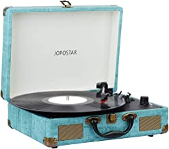 Record Player ,JOPOSTAR Suitcase Portable 3-Speed Turntable Player Built-in Speakers , BT ,Headphone Jack ,RCA Output