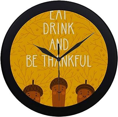 APJDFNKL Modern Simple Thanksgiving Three Cute Smiling Wall Clock Indoor Non-Ticking Silent Quartz Quiet