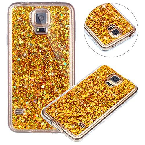 Carcasa Galaxy S5 ,Fundas para X,Surakey Purpurina Bling Glitter Brillante Dimantes Ultra Slim Soft Movil Caso Funda Slim Case Cover Protectora para Samsung Galaxy S5 ,Dorado