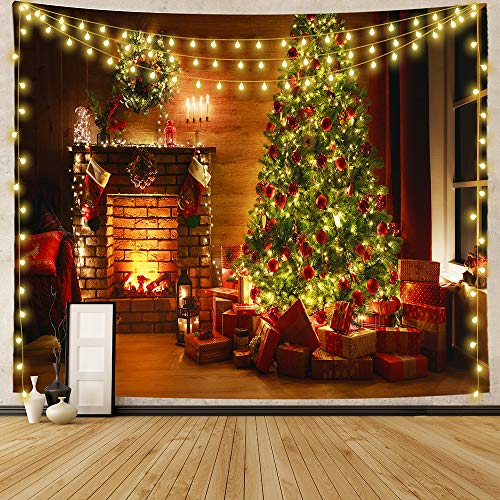 Mr.Bee Wall Tapestry Christmas Colorful Tapestry Backdrop, Xmas Santa Claus, Reindeer, Tree and Fire Place for The Living Room Background Wall Hanging for Party Home Christmas Wall Decor (W59 x L51)