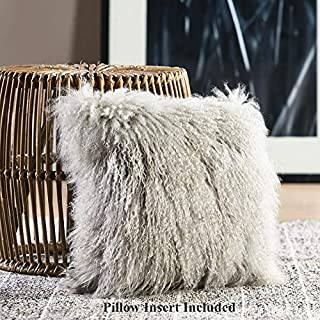 100% Real Mongolian Lamb Fur Curly Wool Throw Pillow Cushion with Insert Decorative Pillow for Living Room Bedroom Car,Pillow Insert Included,16x16in,Light Gray