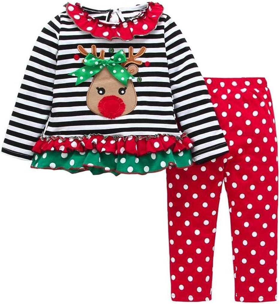 Christmas Outfit Toddler Infant Baby Girls Ruffle Top Clothes Set Deer Print Shirt Dress Pants Set