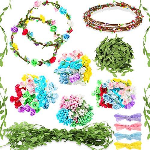 Kit de Hacer Coronas de Flores, 168 Piezas, Haz Tu Propia Corona Floral Kit de DIY Accesorios de Pelo Kit Artesanal de Diadema Pulsera Kit de Guirnalda de Corona Hecha a Mano Buen Regalo